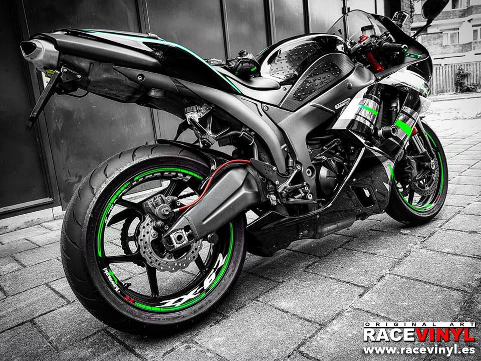 kawasaki zx6r ninja 636 2008 pegatina vinilo llanta adhesivo vinyl stickers kit pro stripes rim tuning bike moto racevinyl
