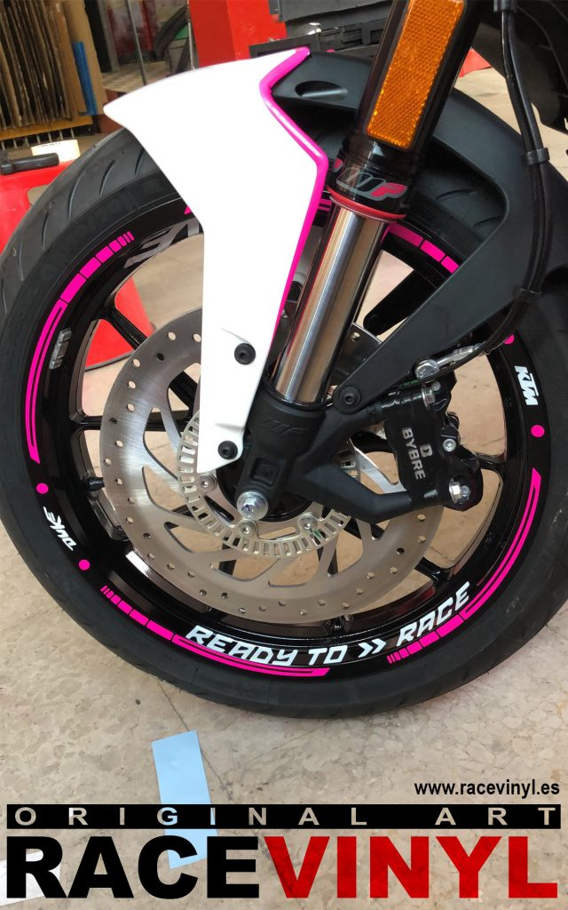KTM Duke 125 fluor pink custom tuning rim stickers kit pro stripes vinyl motorcycle 02