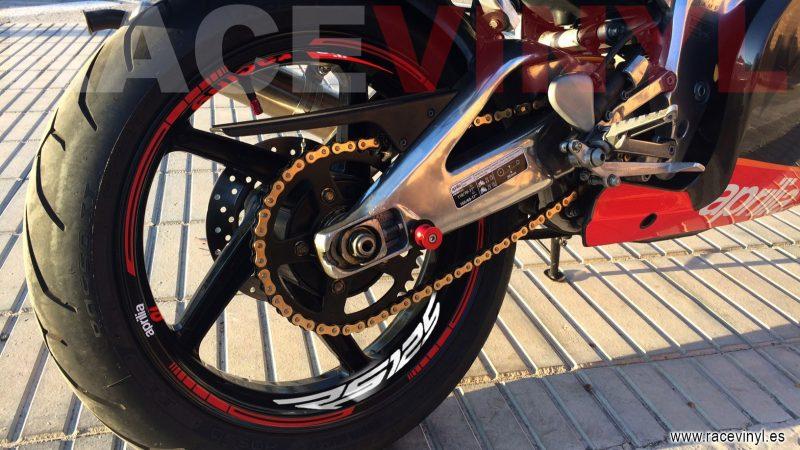 Aprilia rs 125 Kit PRO Red logotipo Juan Alicante pegatinas vinilo adhesivo moto llanta rim sticker vinyl