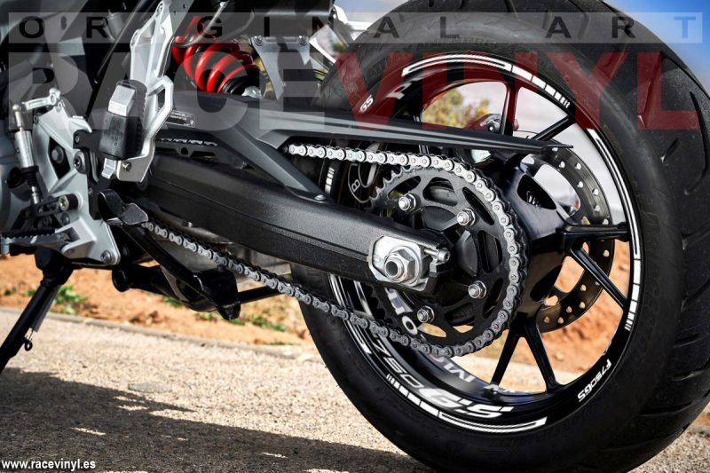 BMW F750GS accessories to customize your rims Racevinyl rear wheel detail