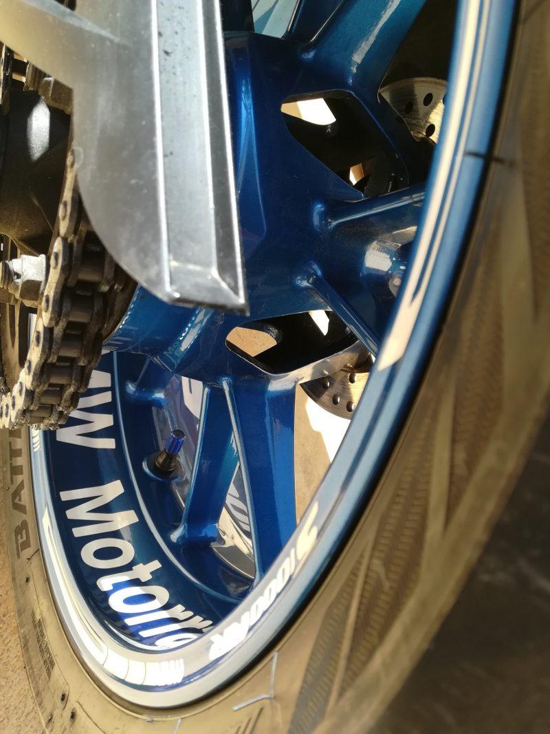 BMW S1000RR Kit PRO White llanta Blue pegatina rueda moto vinilo adhesivo vinyl sticker rim stripe tuning03