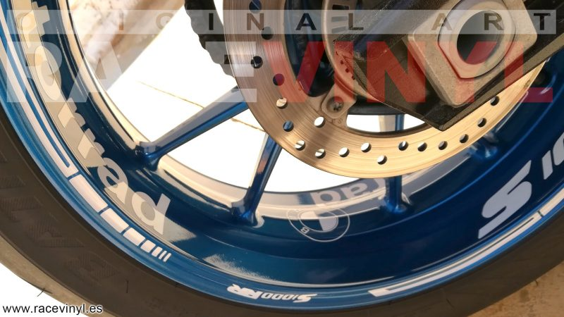BMW S1000RR Kit PRO White llanta Blue pegatina rueda moto vinilo adhesivo vinyl sticker rim stripe tuning04