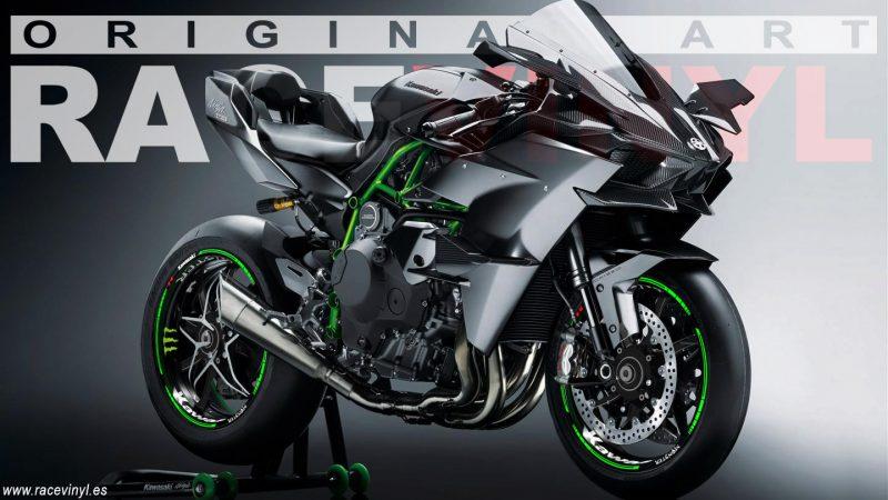 Kawasaki Ninja H2R con los accesorios para llantas kit pro de pegatinas adhesivas en vinilo para llantas racevinyl personalizada