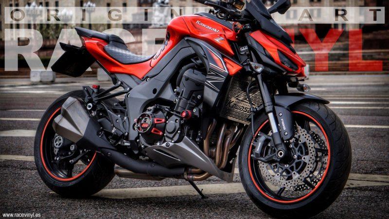Kawasaki-Z1000-roja-adhesivos-Bandas-Genericas-Racevinyl