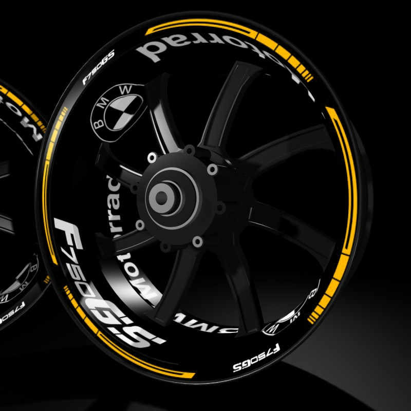 BMW F750GS kit pro yellow rims stickers Racevinyl wheel detail