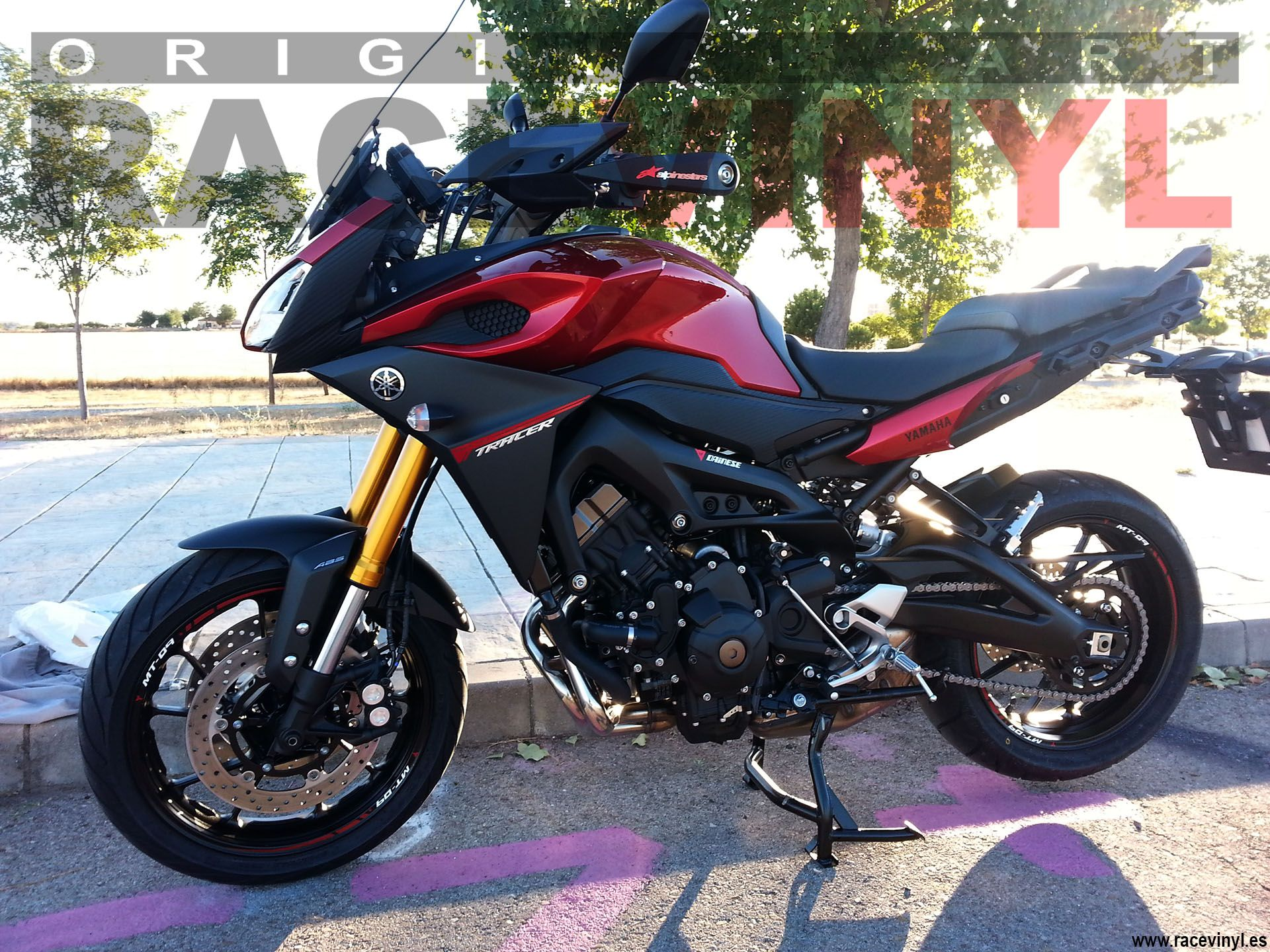 Yamaha MT09 Tracer with stickers for outer rims
