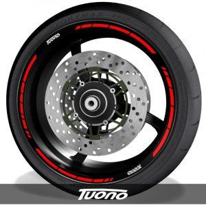 Pegatinas de moto adhesivos para perfil de llantas con logo Aprilia Tuono speed