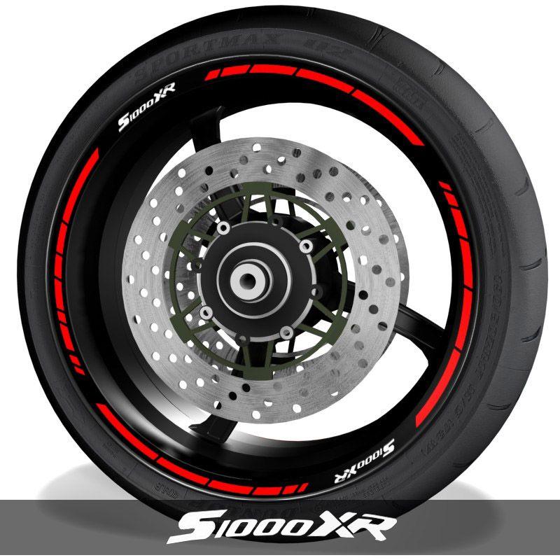 Vinilos y adhesivos para perfil de llantas de moto con logo BMW S1000XR speed