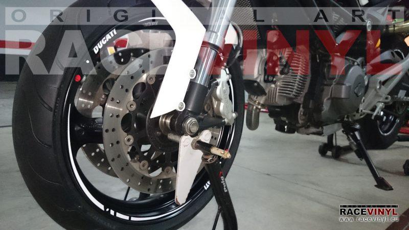 Ducati Monster 696 Front detail vinilos adhesivos pegatinas llanta tuning rim stickers kit stripes vinyl