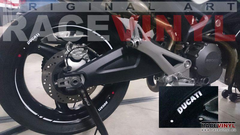 Ducati Monster 696 rear detail vinilos adhesivos pegatinas llanta tuning rim stickers kit stripes vinyl