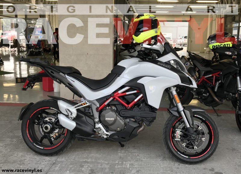 Ducati Multistrada de Mauro Guzzi kit de pegatinas y adhesivos para llantas de moto speed con logotipo rim sticker stripes vinyl Red Reflectant Corse