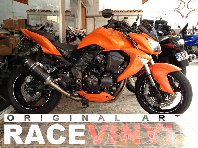 Kawasaki z750 naranja 01 racevinyl vinilo llanta rueda pegatina adhesivo tuning vinyl sticker rim kit stripe moto complete