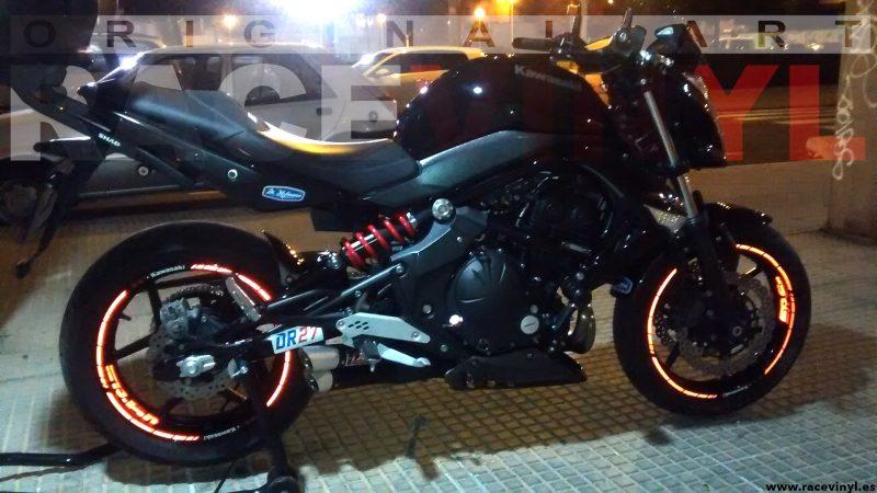 Kawasaki ER6N pegatinas y adhesivos para llantas interior y perfil Reflectant noche