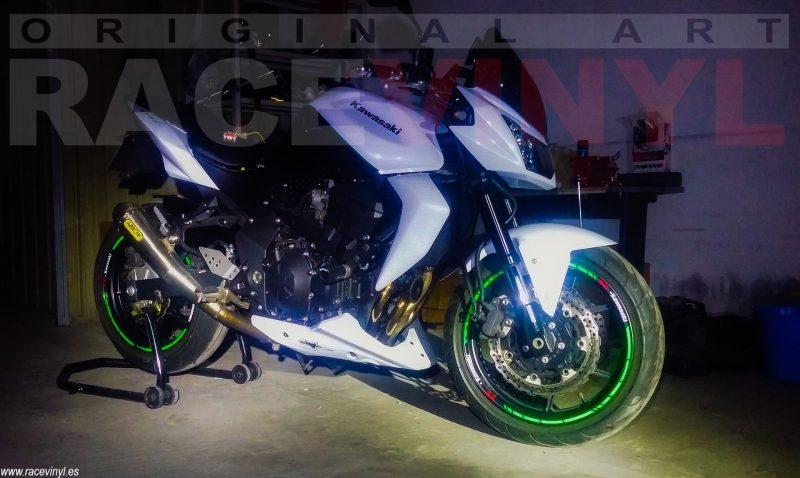 Kawasaki Z750 01 Racevinyl cesar manuel SPEED rim green fluor vinilo pegatina banda tuning kit stripe llanta