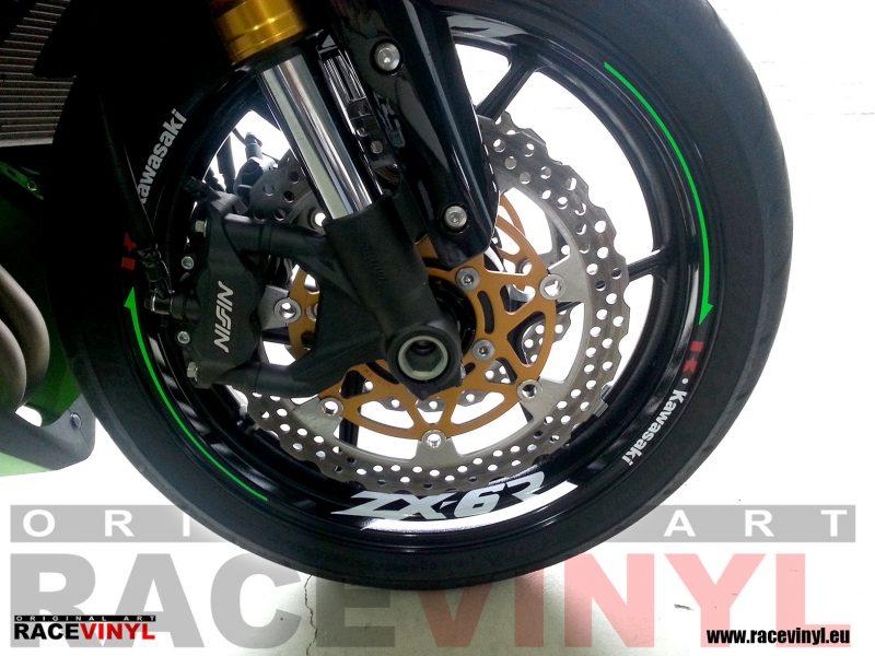Racevinyl Kawasaki zx6r 636 Rueda delantera pegatinas adhesivos rueda llanta vinilo rim wheel vinyl sticker tuning