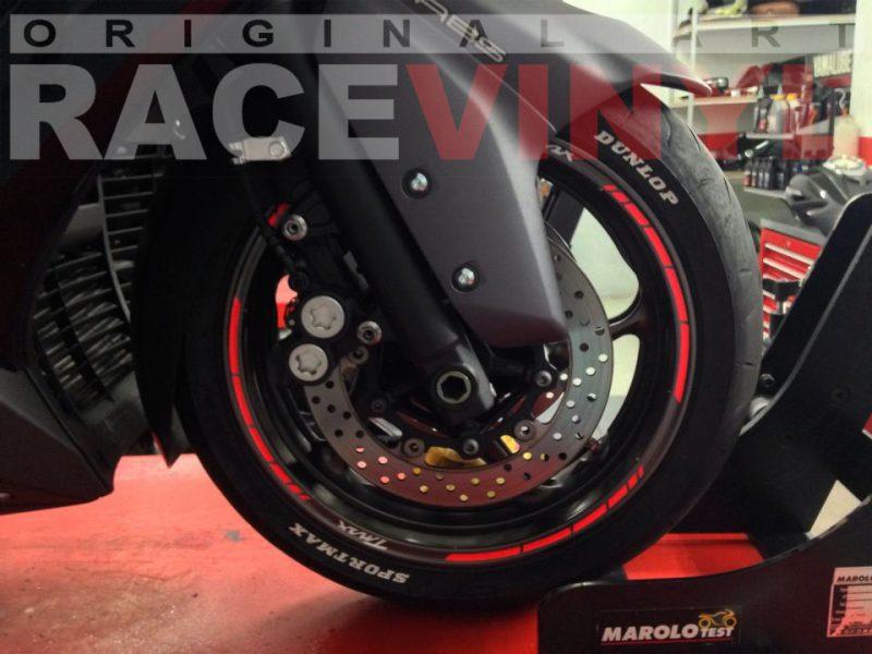 Racevinyl Yamaha TMAX 500 front rim sticker kit stripes wheel vinyl pegatina adhesivo vinilo llanta rueda moto