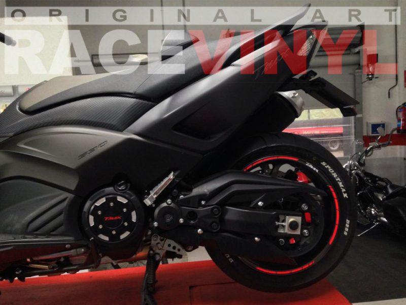 Racevinyl Yamaha TMAX 500 rear rim sticker kit stripes wheel vinyl pegatina adhesivo vinilo llanta rueda moto