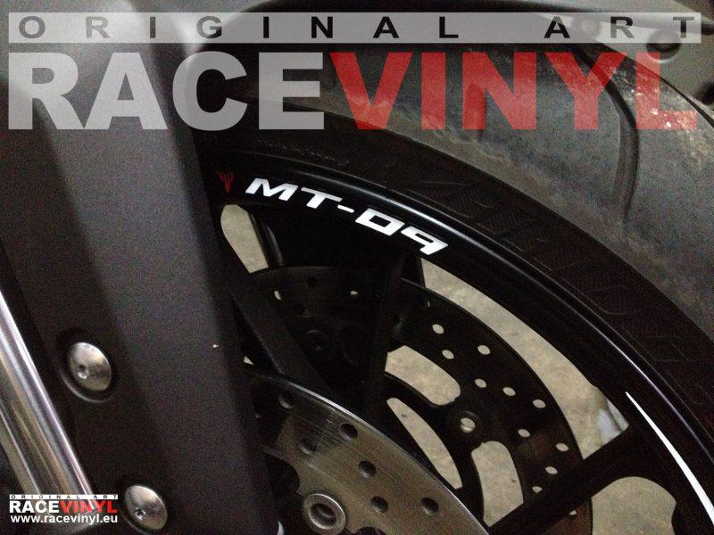 Yamaha MT 09 FZ9 detalle rueda delantera pegatina llanta moto rueda vinilo adhesivo rim sticker stripe kit adhesive vinyl tuning