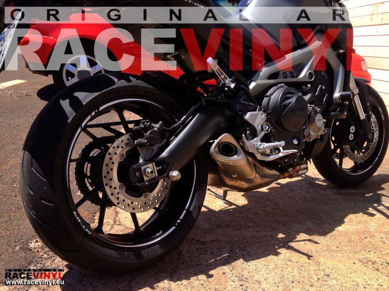 Yamaha MT 09 FZ9 trasera pegatina llanta moto rueda vinilo adhesivo rim sticker stripe kit adhesive vinyl tuning