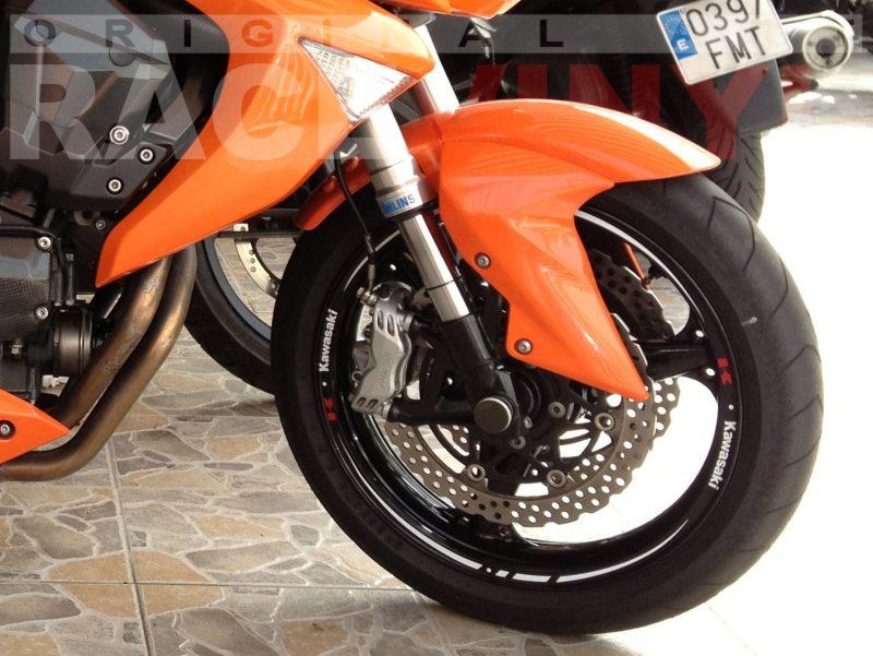 Kawasaki z750 naranja 01 racevinyl vinilo llanta rueda pegatina adhesivo tuning vinyl sticker rim kit stripe delantera
