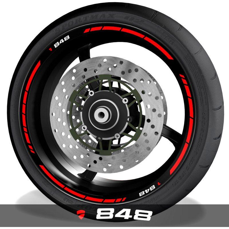 Adhesivos para perfil de llantas vinilos de moto con logo Ducati 848 speed