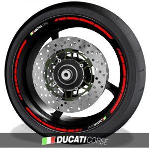 Pegatinas para perfil de llantas vinilos de moto con logo Ducati Corse speed