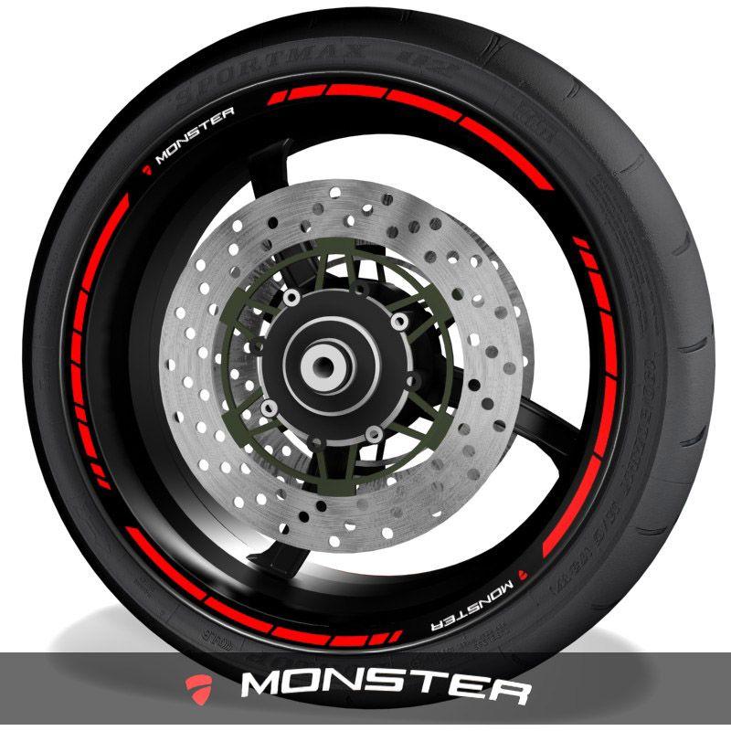 Adhesivos de moto vinilos para el perfil de llantas logo Ducati Monster speed