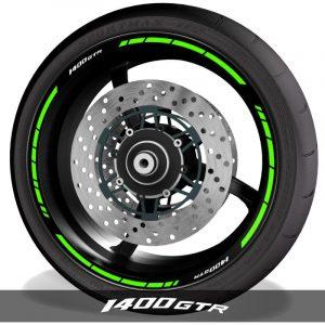 Adhesivos de moto vinilos para perfil de llantas logo Kawasaki 1400GTR speed