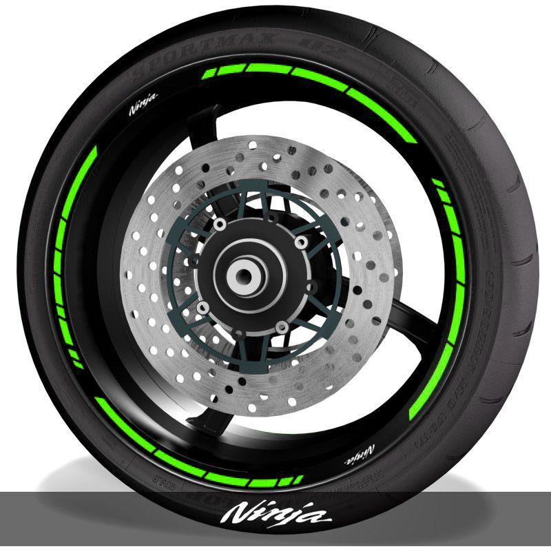 Vinilos de moto adhesivos para perfil de llantas logo Kawasaki Ninja speed
