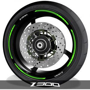 Pegatinas de moto vinilos para perfil de llantas logo Kawasaki Z300 blade