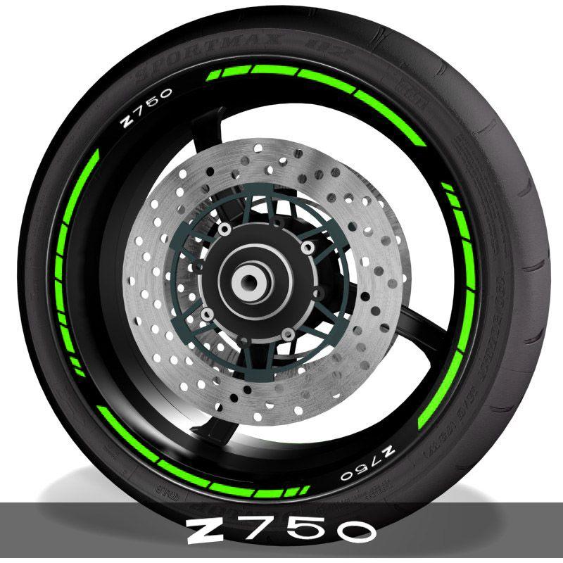 Pegatinas de moto adhesivos para perfil de llantas logo Kawasaki Z750 speed