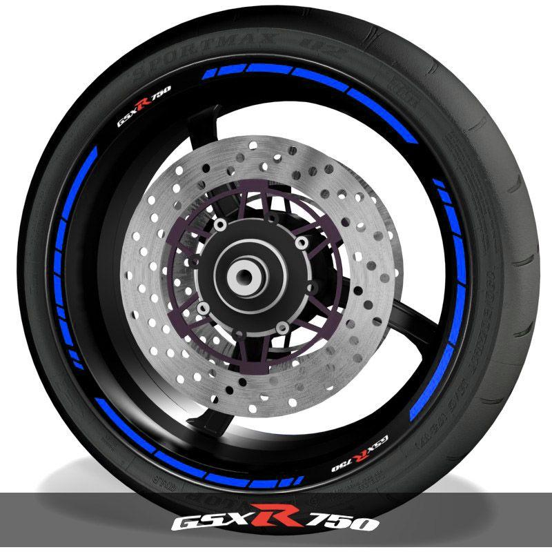 Adhesivos para perfil de llantas vinilos de moto logos Suzuki GSXR750 speed