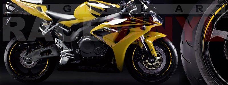 CBR1000RR amarilla con las pegatinas para el perfil de las llantas de Racevinyl