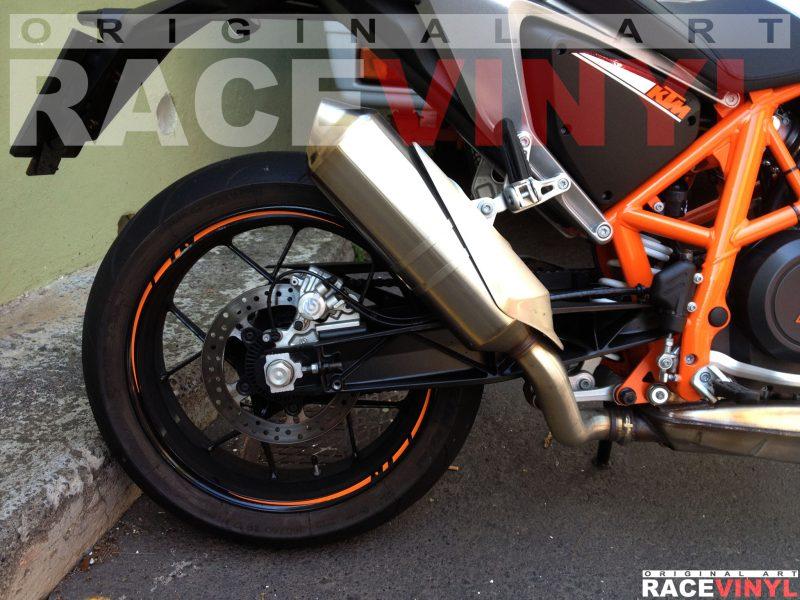 KTM 690 Duke LC4 2014 Racevinyl vinilo adhesivo llanta Vinyl Sticker Rim Trasera
