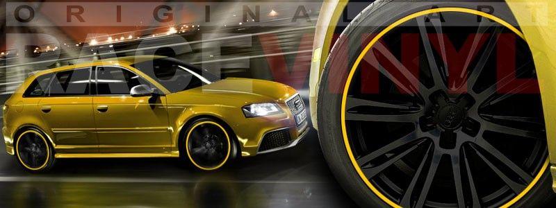 Audi A3 RS3 Yellow personalizado con los vinilos para las llantas de Racevinyl