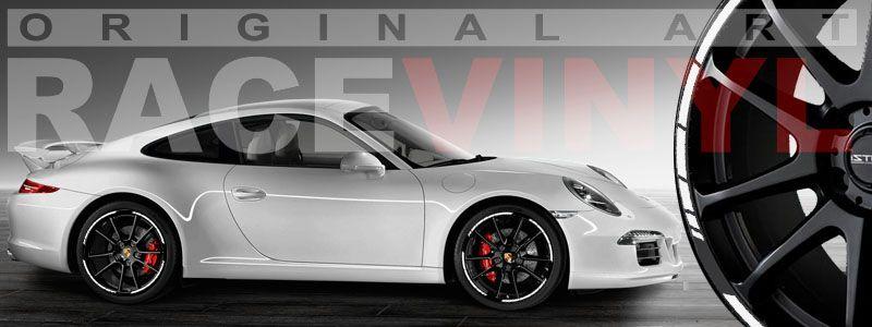 Porsche carrera con las pegatinas y vinilos para las llantas, tiras Speed de Racevinyl