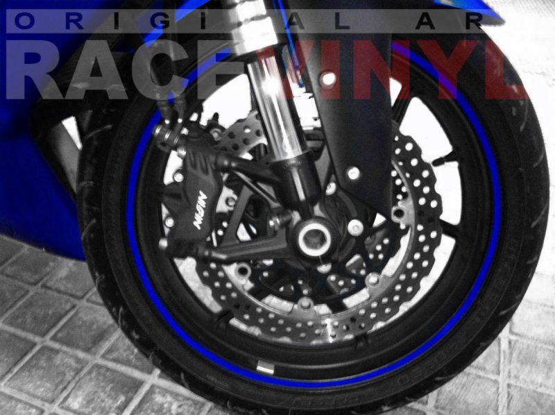 Kawasaki Zx6r con los vinilos adhesivos para las llantas genericos Blue plano delantero