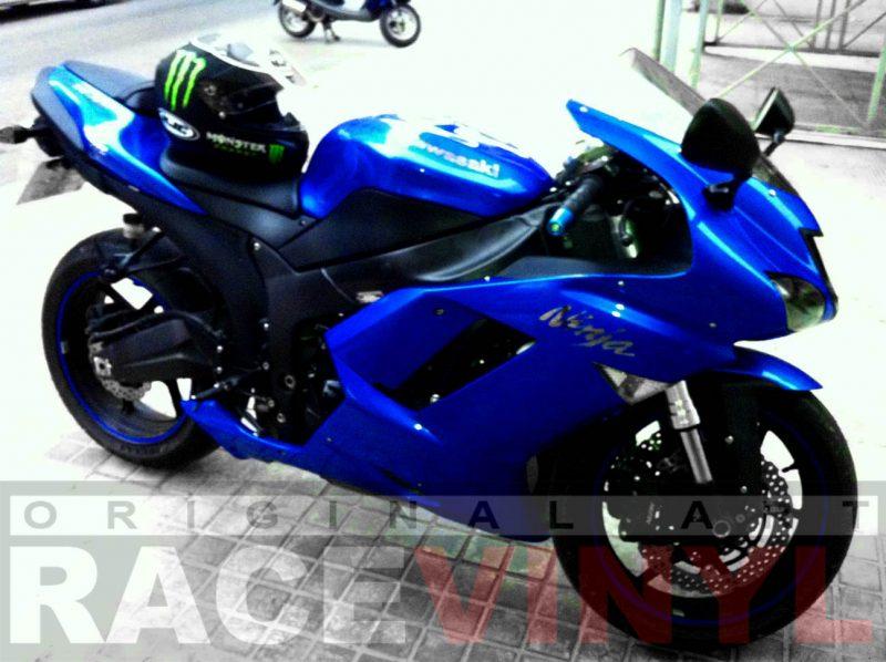 Kawasaki Zx6r con los vinilos adhesivos para las llantas genericos Blue plano general