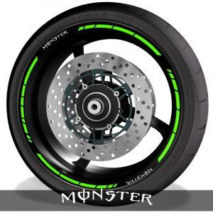 Pegatinas para llantas y adhesivos perfil con logo Kawasaki Monster speed