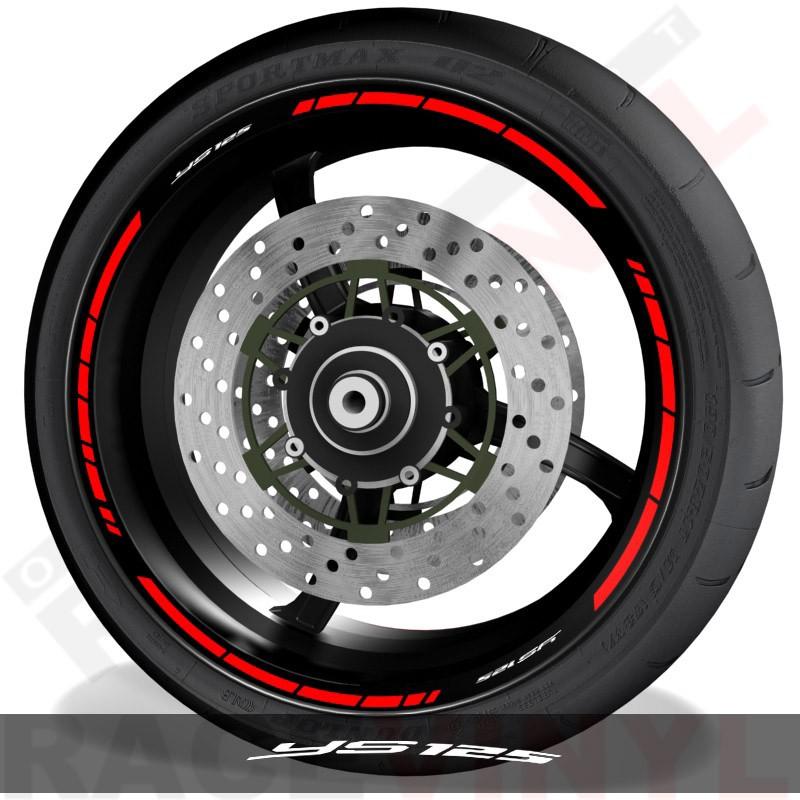 Adhesivos y accesorios para motos vinilos perfil llantas Yamaha YS125 speed