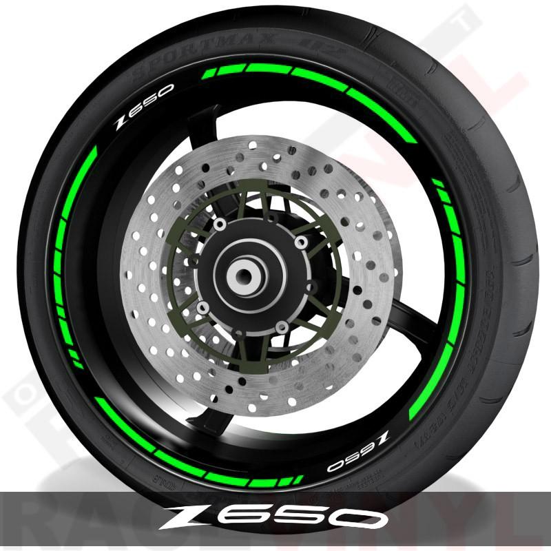 Pegatinas y accesorios para motos vinilos perfil llantas Kawasaki Z650 speed