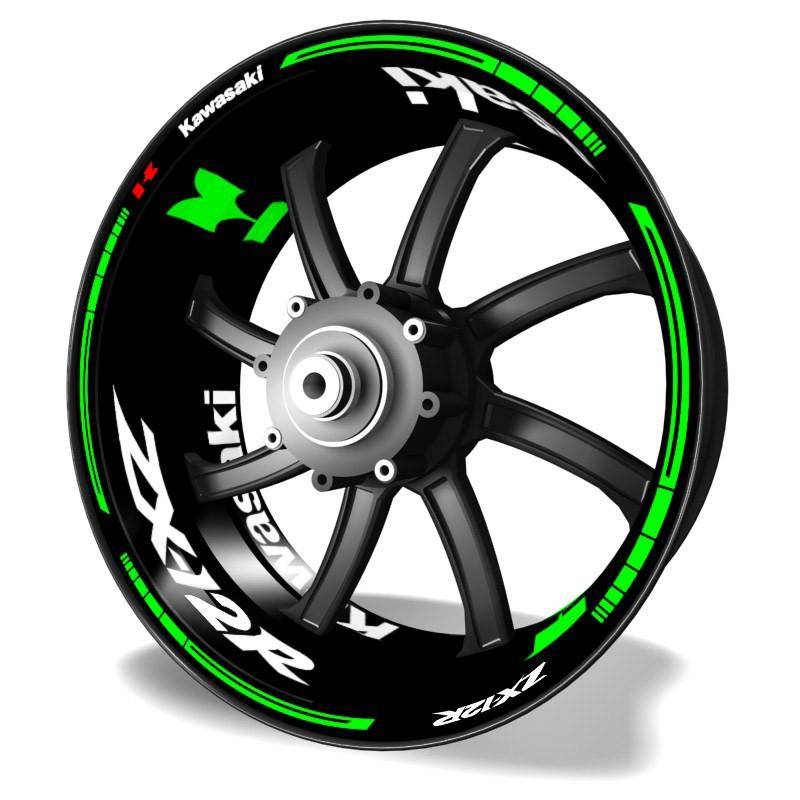 Kawasaki ZX12R rim stickers kit pro green fluor