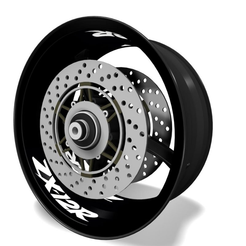 Inner rim vinyls, wheel interior decals logo Kawasaki ZX12R