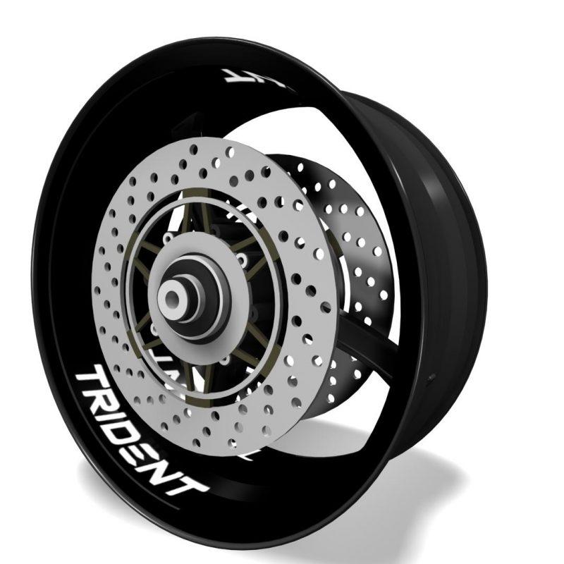 Inner rim vinyls, wheel interior decals logo Triumph Trident